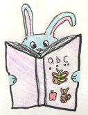 A drawing of a bunny holding an alphabet with print and braille letters.