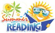 Sun reading a book. Text summer reading