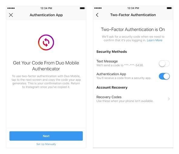 verifikasi dua langkah instagram