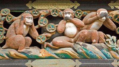 日光東照宮の「見ざる言わざる聞かざる」の彫刻