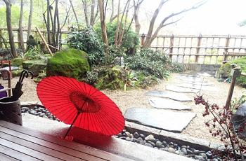 雨の庭と和傘