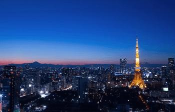 東京タワーと富士山の夜景