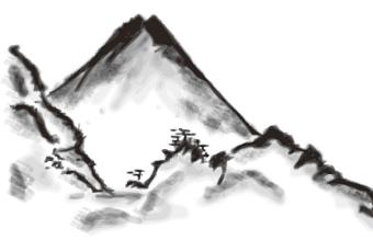 水墨画の山水