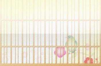 鶯と梅の花の模様の和紙