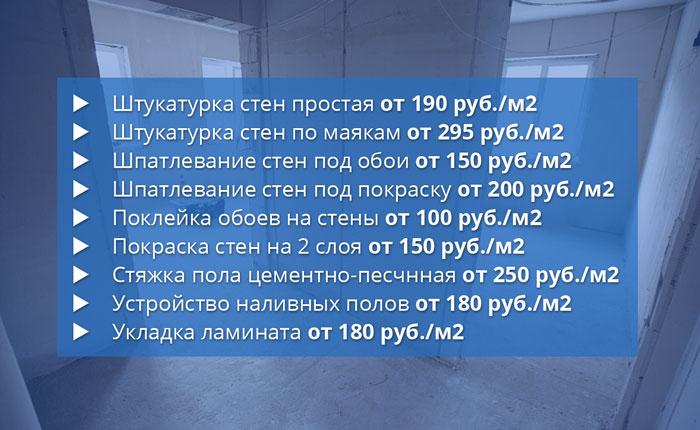 Цены на отделочные работы в Челябинске