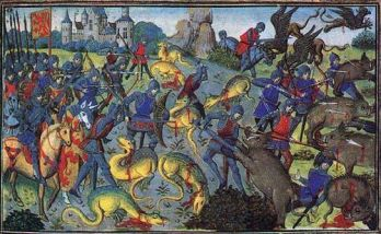 Alexander the Great battling monsters, the French 15th century miniature (Credit:  Public domain work of art)