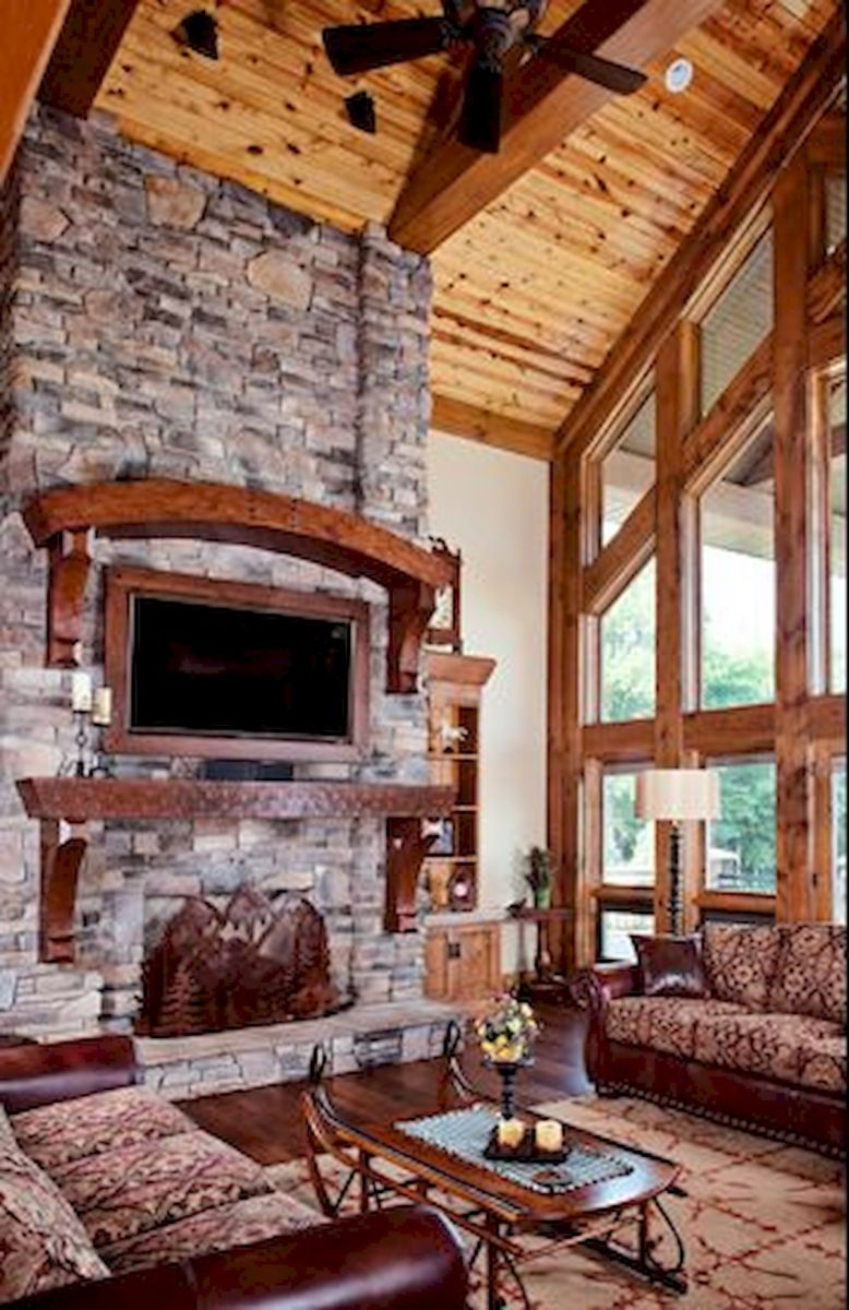 63 Best Log Cabin Homes Fireplace (17)
