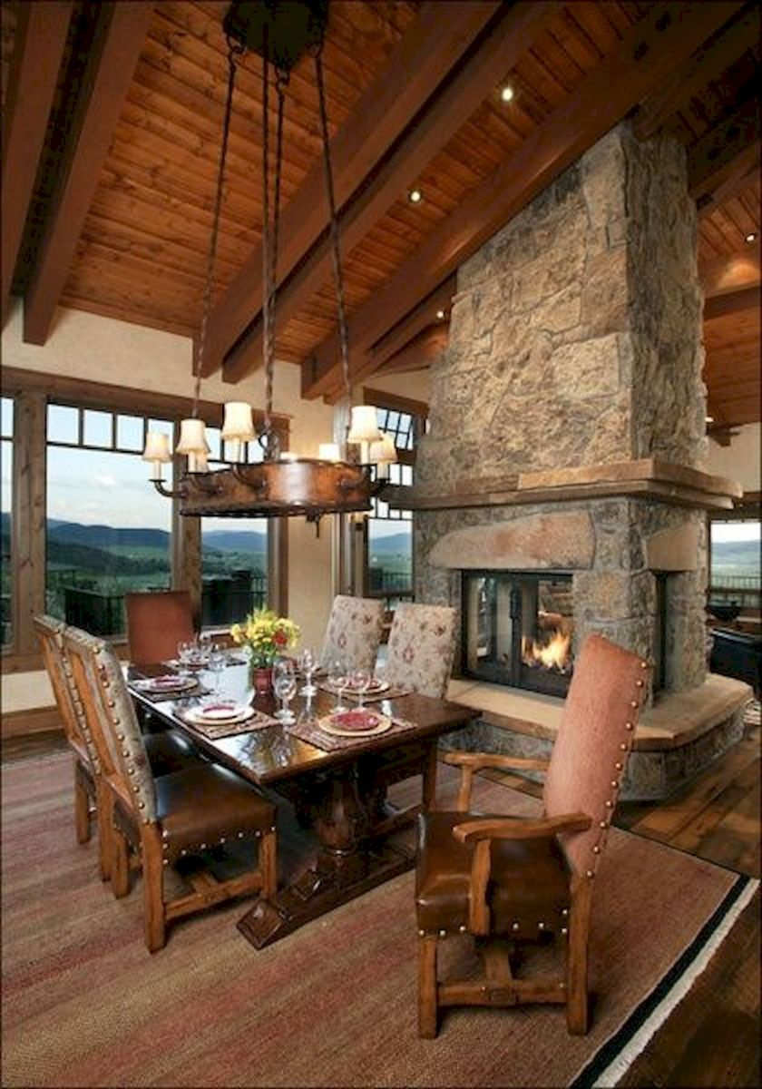 63 Best Log Cabin Homes Fireplace (18)