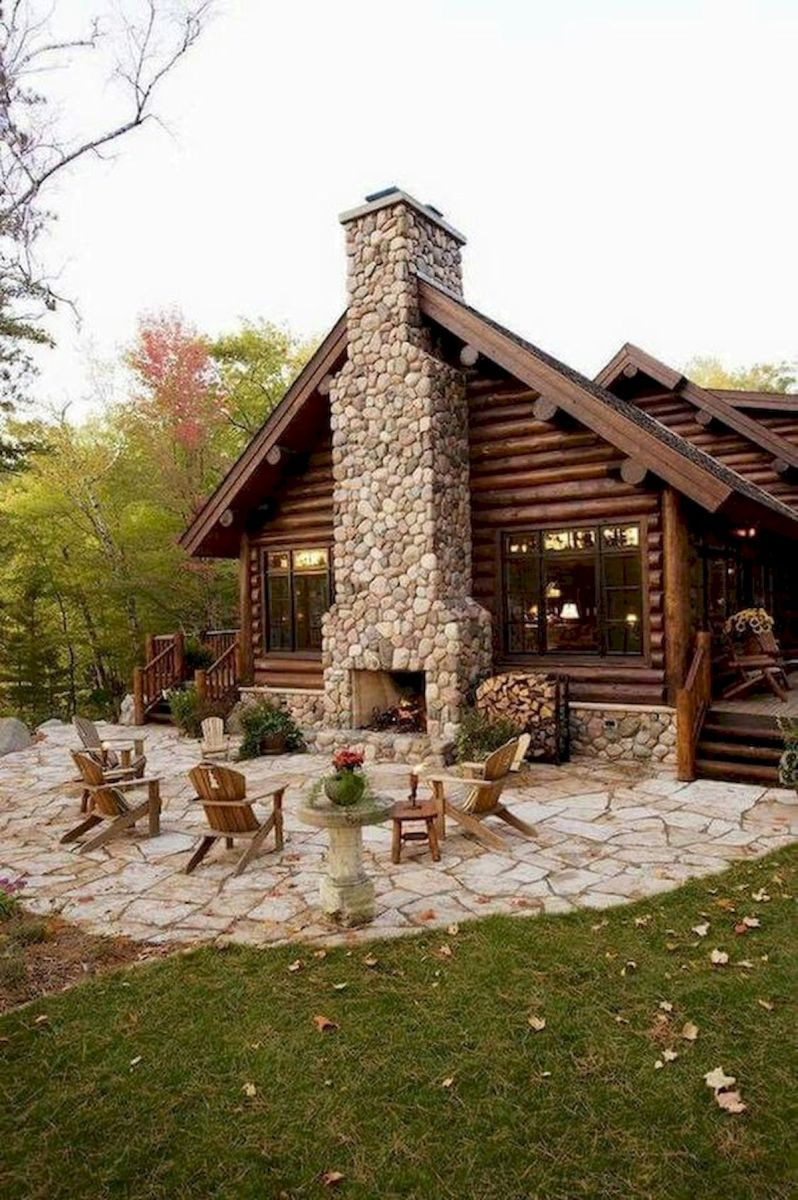 63 Best Log Cabin Homes Fireplace (47)