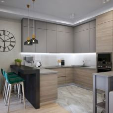 15 Fancy kitchen ideas Using a combination of brown wood (9)
