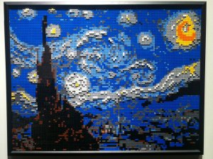 You can do some incredible things with this form of building. Here is artist Nathan Sawaya's reproduction of Starry Night by Van Gogh. Notice the use of depth and brick type to make this jump out at you!