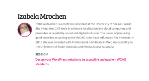 Design your WordPress website to be accessible and usable – WCAG standards by Izabela Mrochen