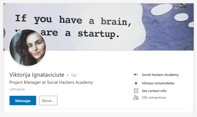 Viktorija Ignataviciute Interview - Linkedin account