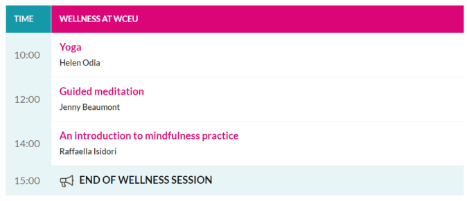 Wellness at WCEU 22 June 2019