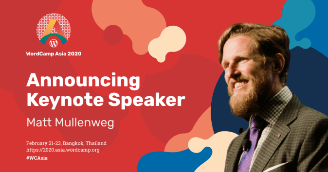 Matt Mullenweg is the Keynote Speaker at WordCamp Asia 2020 #WCAsia