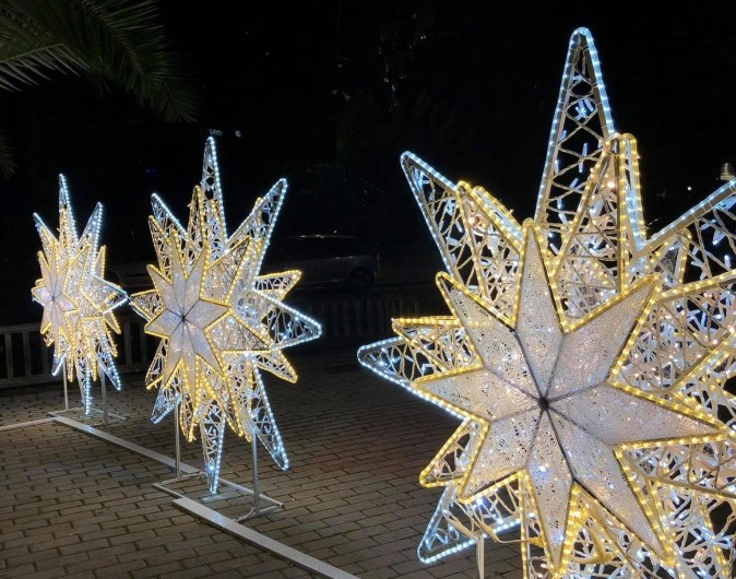 Three Snow White Stars at Terpsitheas Square in Piraeus