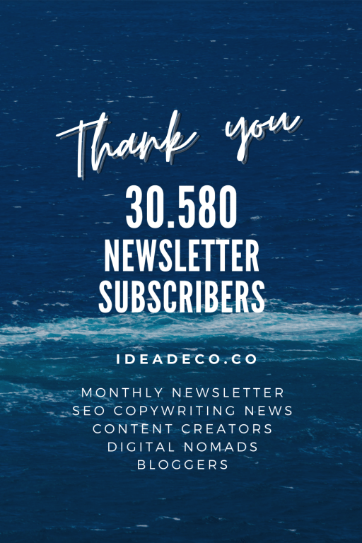 Thank you 30.580 Ideadeco Newsletter Subscribers for your Support