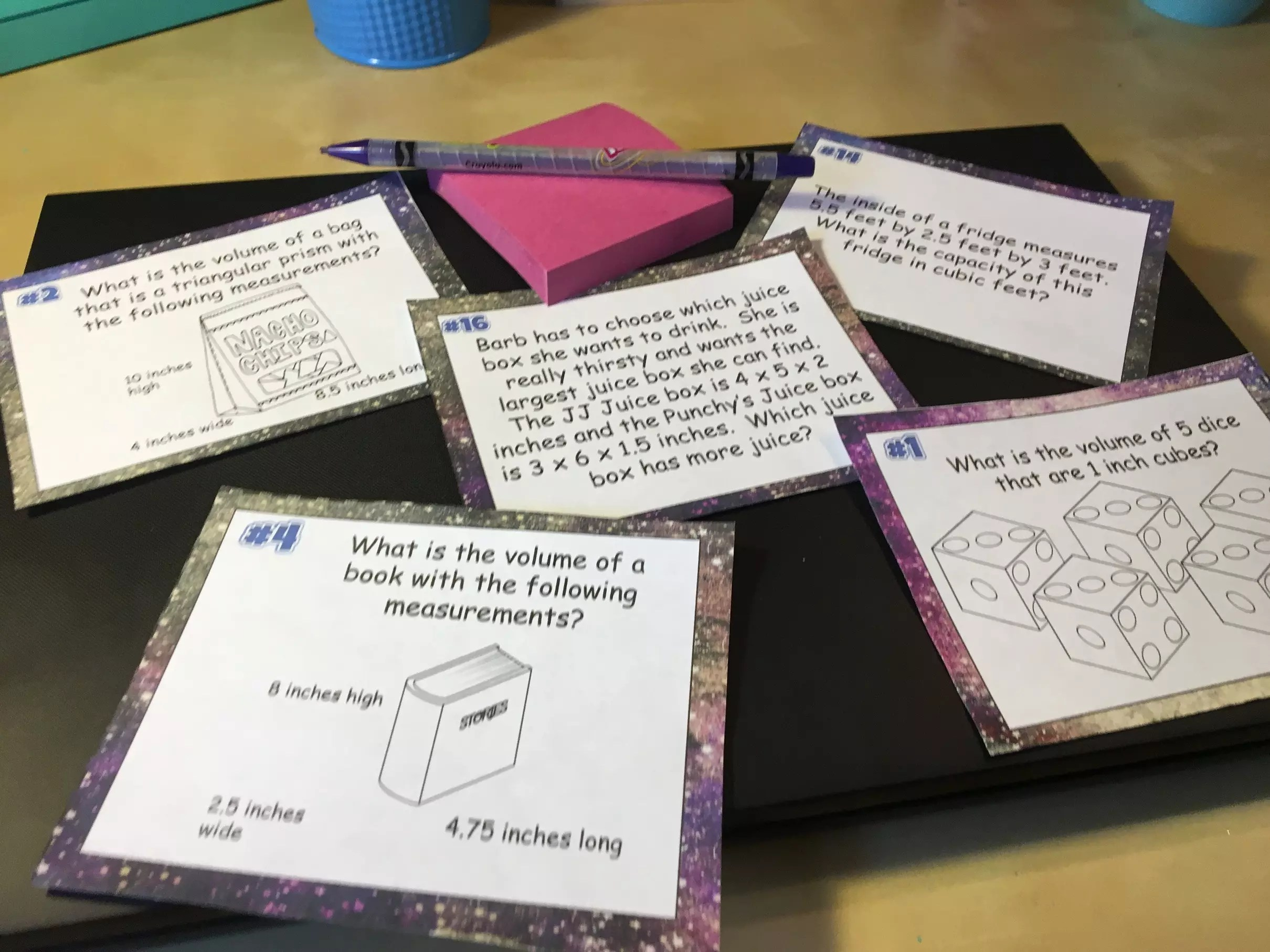 Volume Task Cards- Task cards provide a wide range of practice opportunities for students and a great alternative to traditional worksheets. Ideas at ideagalaxyteacher.com