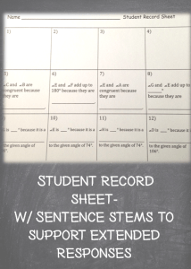 Student record sheet