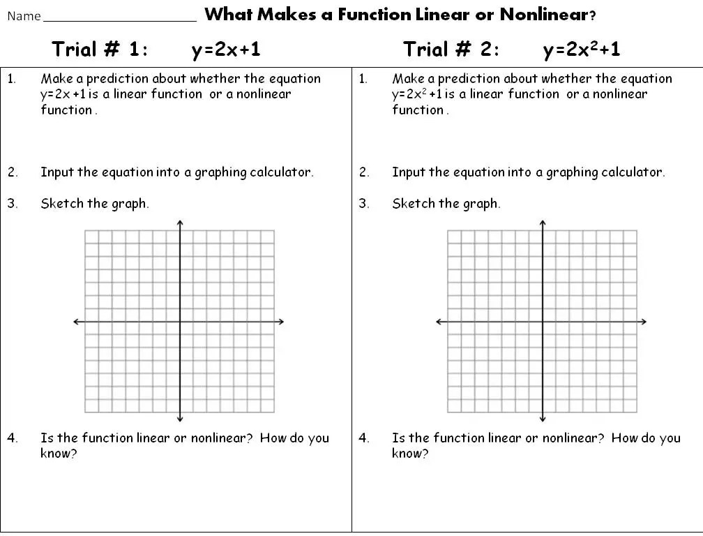Getting students to discover more math with discovery labs. This inquiry lesson for linear and nonlinear functions got me started with these inquiry lessons.