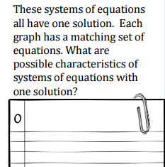 Students answer questions like this one to find patterns and draw conclusions about systems of equations.