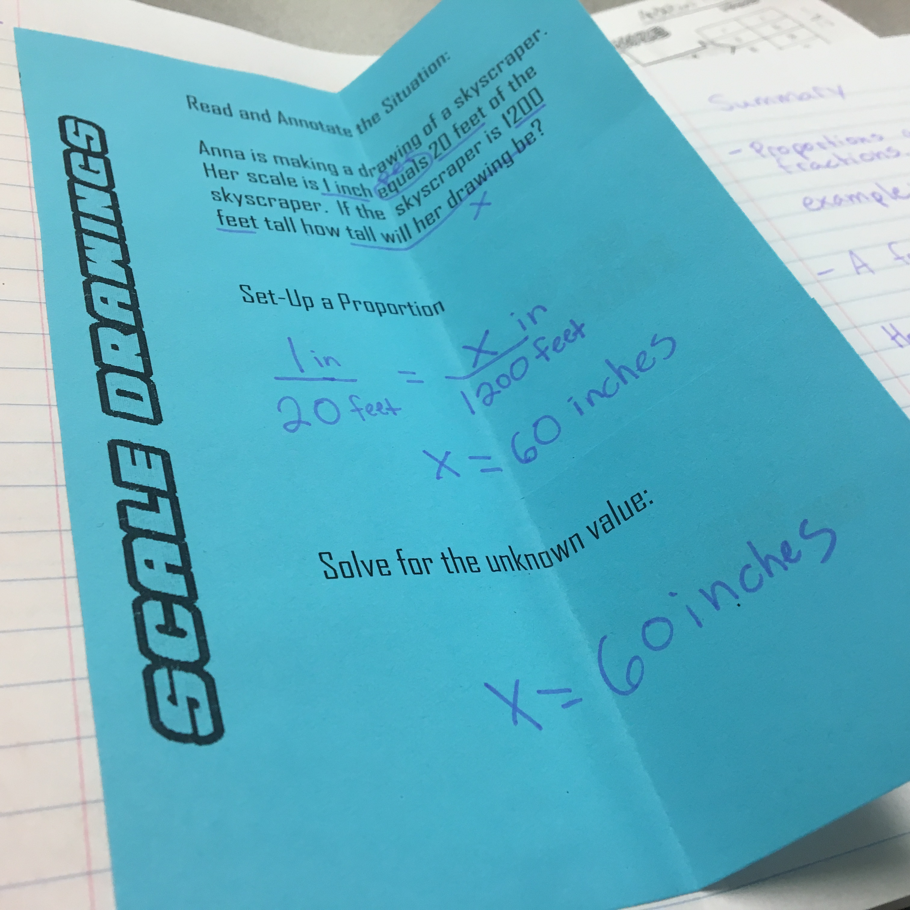 Using foldable notes to teach scale drawings. Great addition to the math interactive notebook.