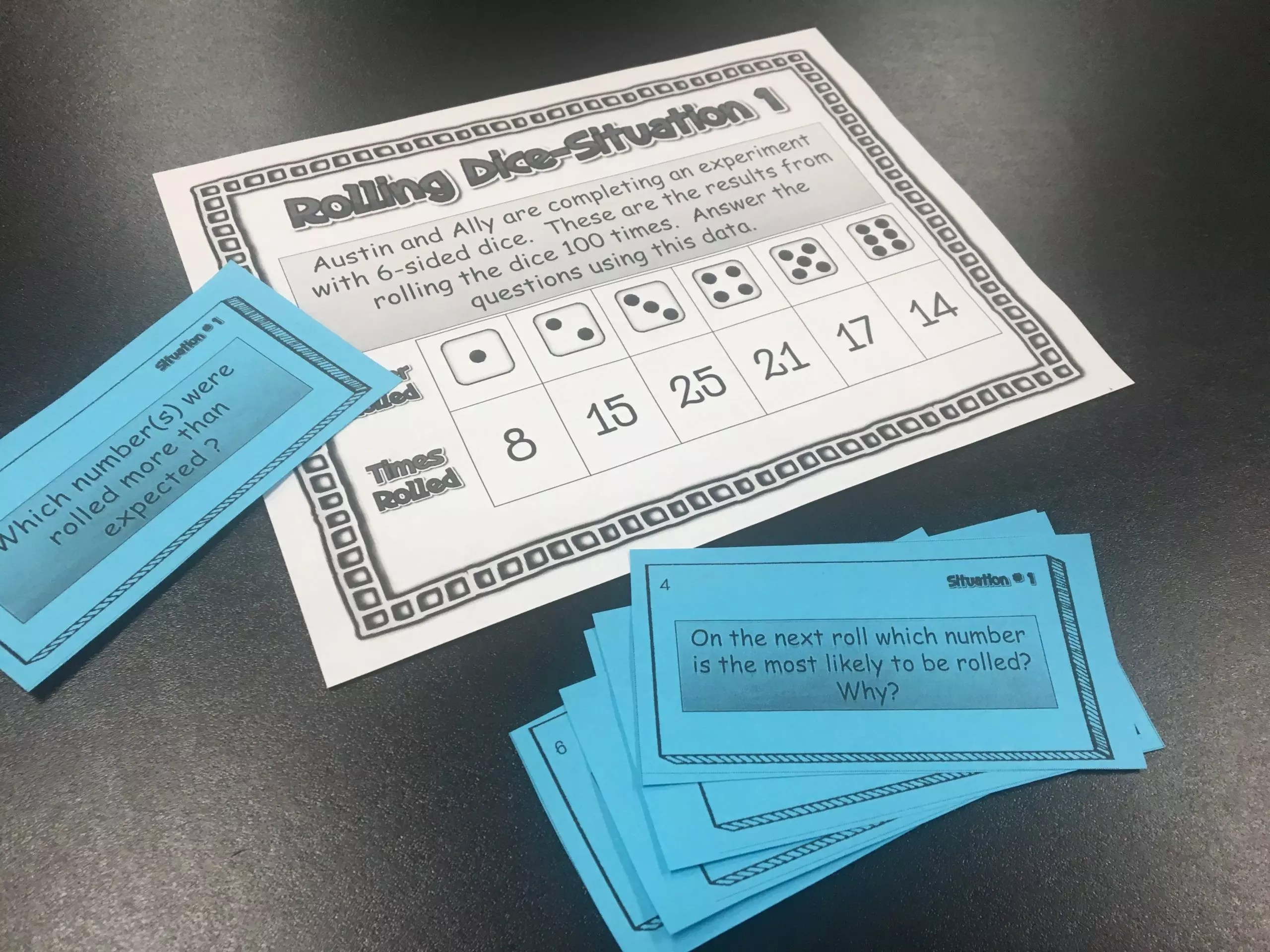 Read this post about activities to teach simple probability.