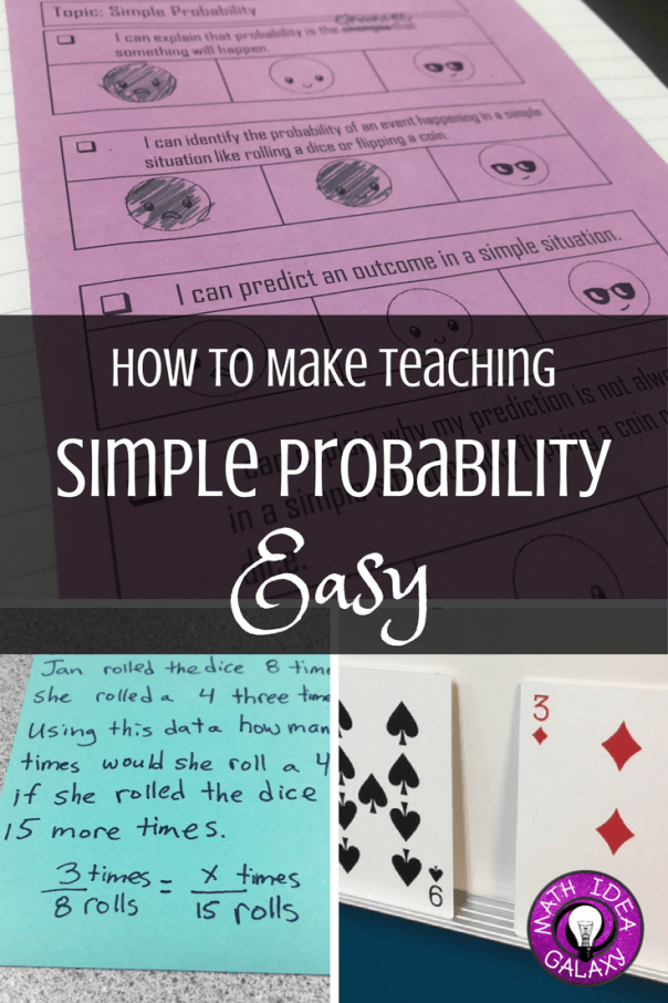 Tips for making teaching simple probability easy peasy. Download free I Can statements for the unit, and a free presentation for using the CUBES strategy to solve problems.
