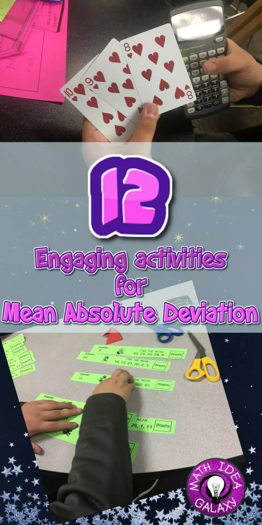 Blog post jam packed with ideas and resources for teaching mean absolute deviation (MAD). Includes ideas for reviewing absolute value and finding the mean.