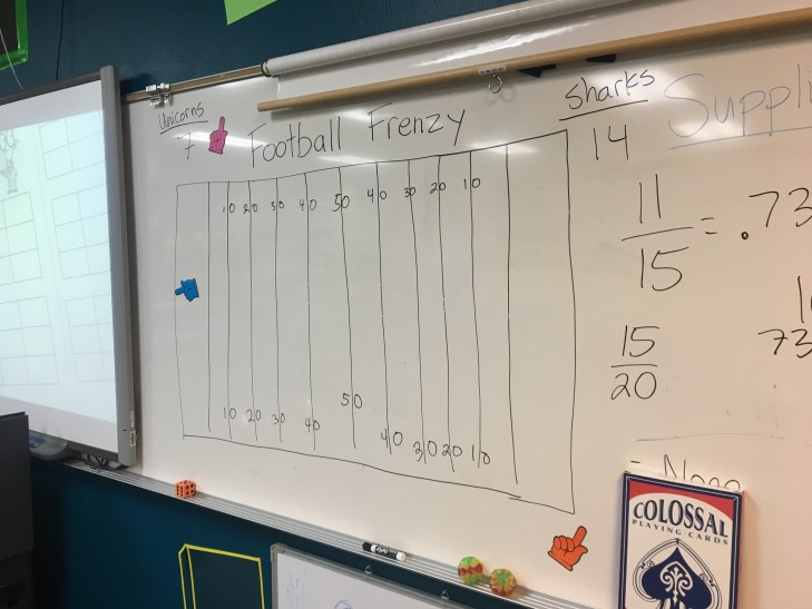 Spice up a math worksheet by turning it into a class football game! I used this tip to work with students on two way tables. Check out all 11 two way tables activity ideas.
