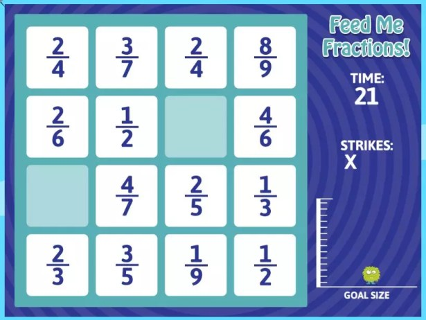 This online fractions game helps students look for and understand like denominators. Great for the 1:1 classroom. Check out all 10 adding and subtracting fractions activity ideas for fractions with like denominators.