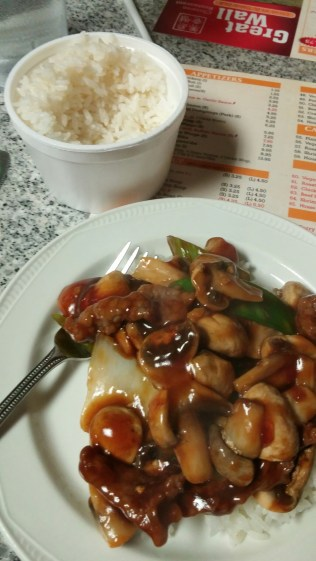 great wall chinese foode beef onions green peppers mushrooms stir fry with Rice Crystal Beach ON