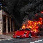 Ferrari F40 on fire in Monaco