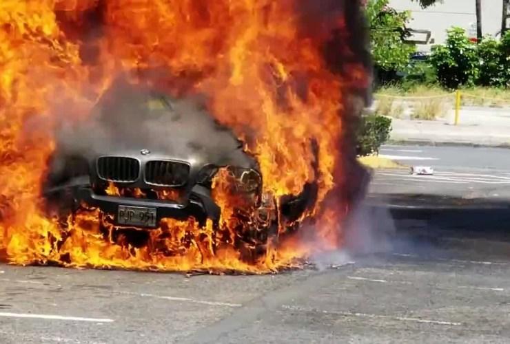 bmw car in flames