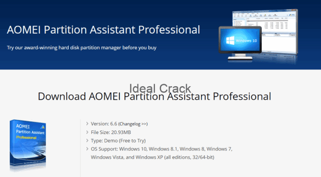 AOMEI Partition Assistant 2020 Crack & Activation Key Download