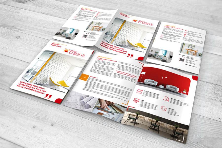 iDéales Communication globale Rédactionnel plaquette commerciale Design Print 8ème Sens Expert Feng Shui