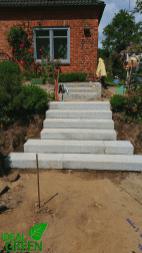 Treppe Granit Weg aus Granitplatten Aufbau 02