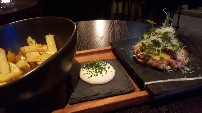La Maison boef tartar and french fries