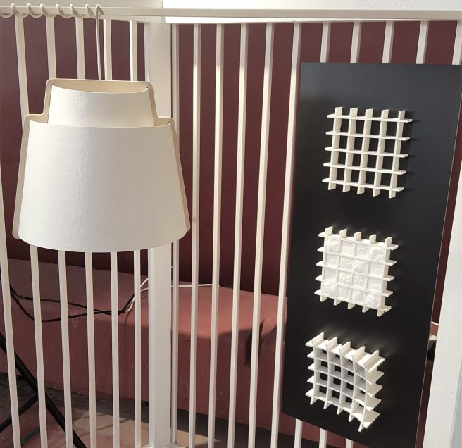 Lampshade by Sukarwood Ltd. Sandwich wall structures made of cellulose, Design Heidi Turunen.