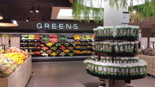 Stockmann Herkku Food Marketin vihannesosasto Greens. Kuva: Ideal Helsinki