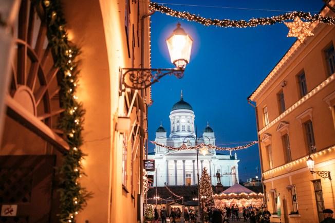 Helsinki Cathedral and Helsinki Christmas market.