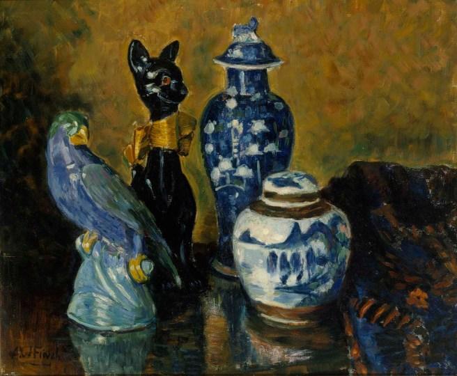Maljakko ja sinisiä figuureja - Alfred William Finch. Kuva: Hannu Aaltonen / Kansallisgalleria