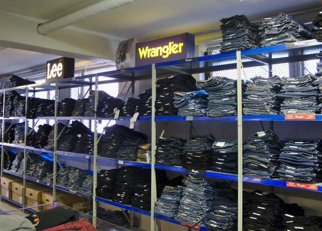 Selection of jeans are available for both men and women.
