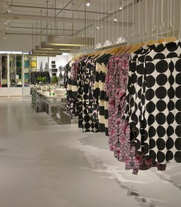 Many large-scale patterns and colourful fabrics are hallmarks of Marimekko's designs.