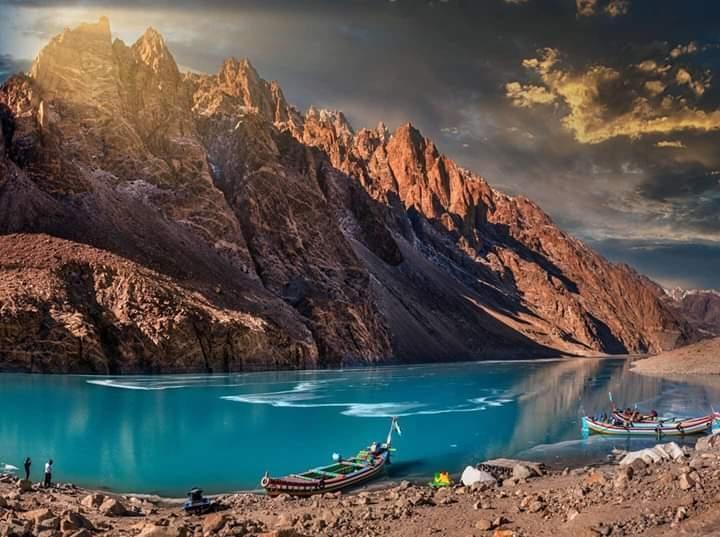 Semi frozen Attabad Lake