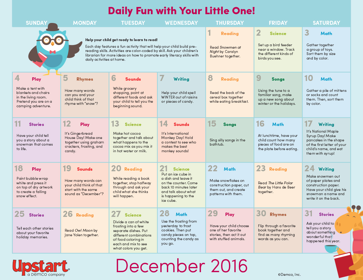 Early Literacy Activity Calendar December