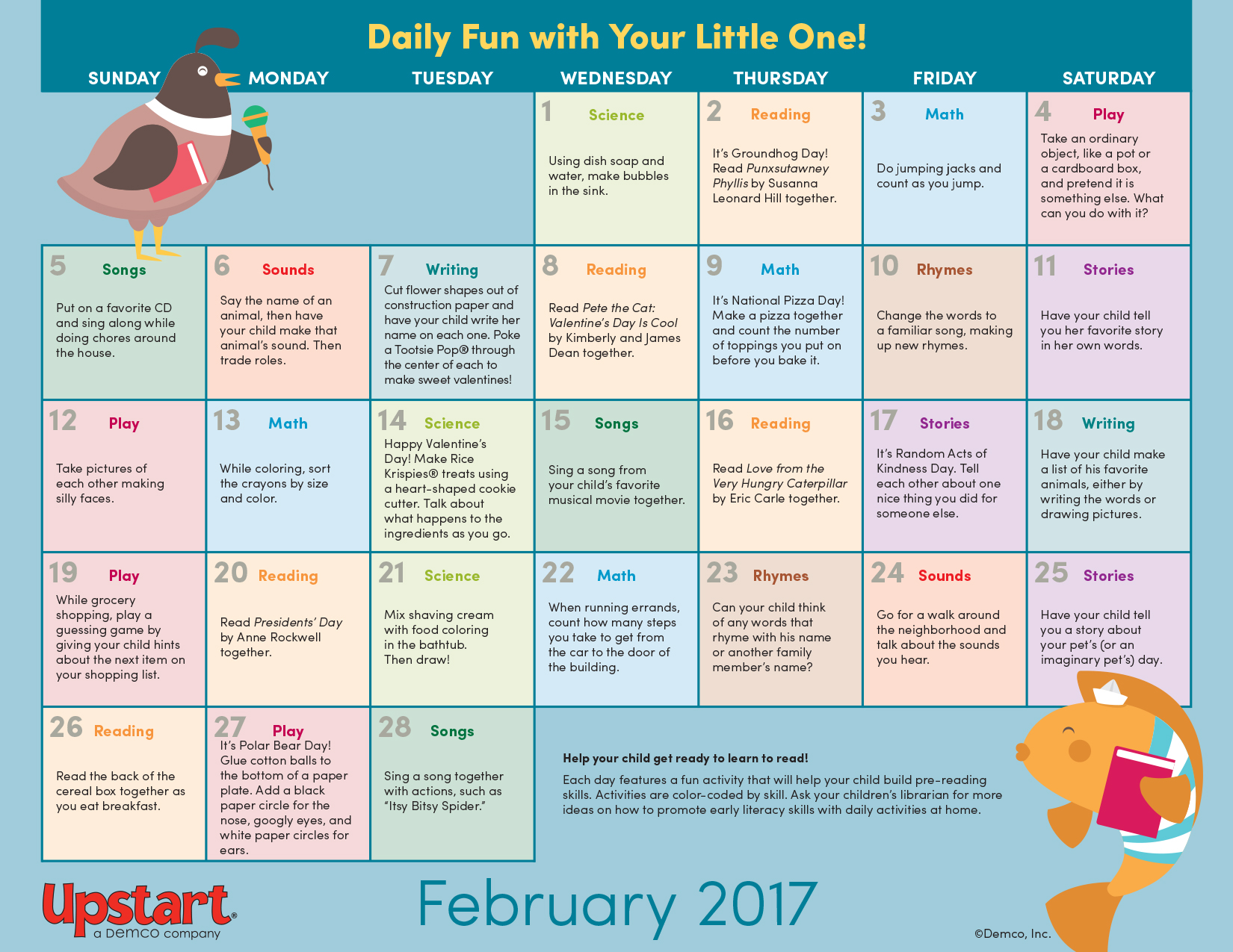 Early Literacy Activity Calendar February