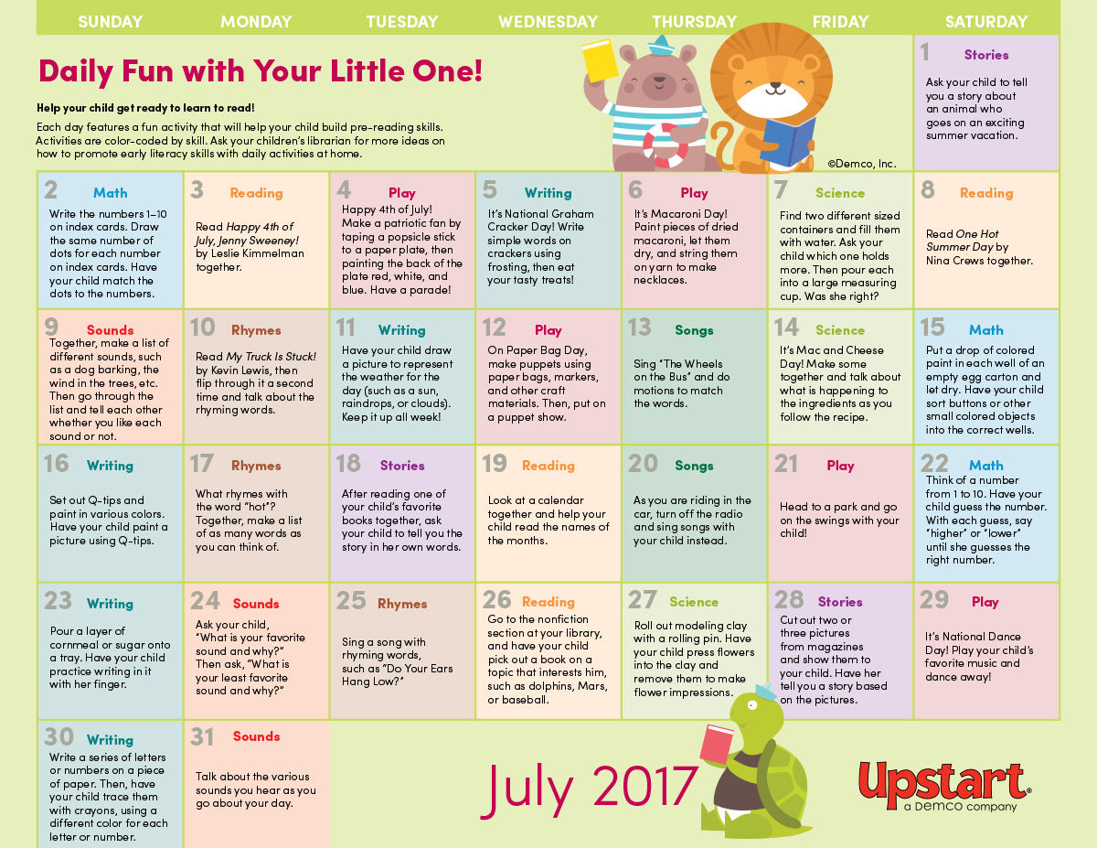 Early Literacy Activity Calendar July