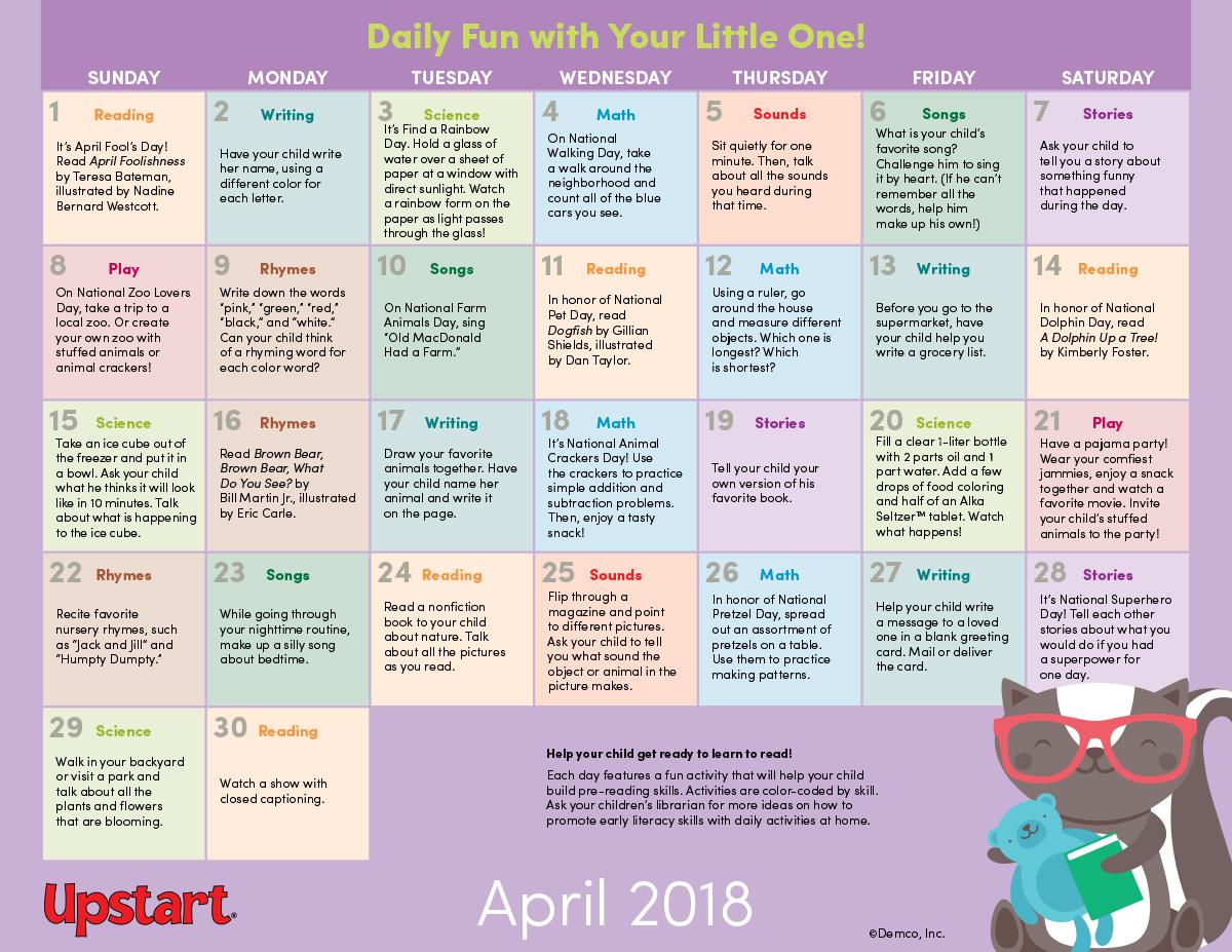 Early Literacy Activity Calendar April