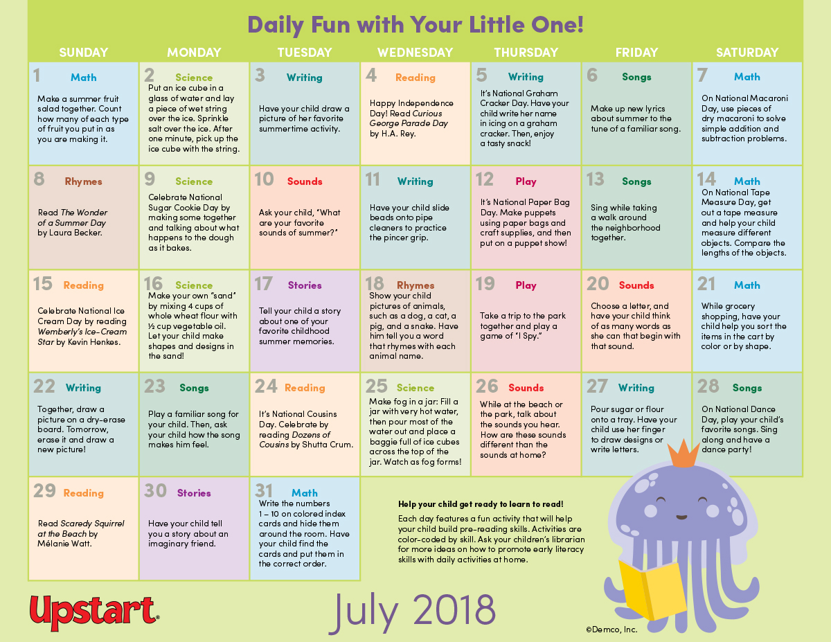 Early Literacy Activity Calendar July Keep Kids Learning This July